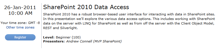 SharePoint 2010 Data Access Webinar