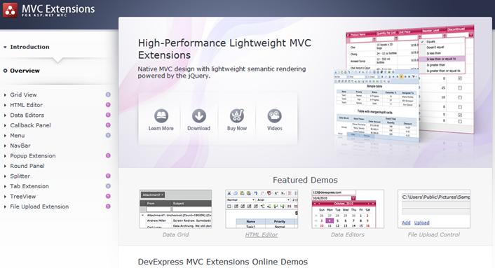 DevExpress ASP.NET MVC Extensions Demo Website