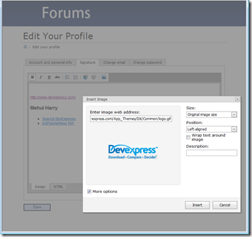 DevExpress MVC Forums - Edit Profile - HTML Editor - Upload control