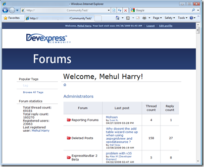 DevExpress MVC Forums Welcome Page