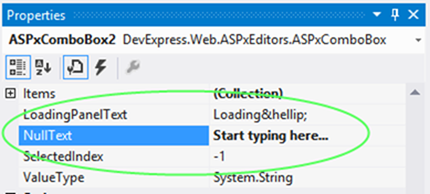 DevExpress ASP.NET Editors NullText Property