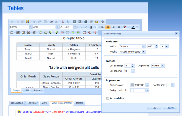 DevExpress ASP.NET MVC HTML Editor - Tables