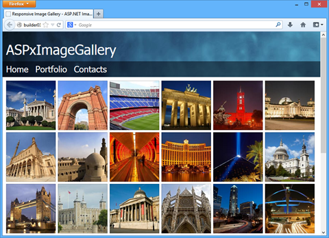DevExpress ASP.NET Image Gallery Control - Responsive - Desktop Browser