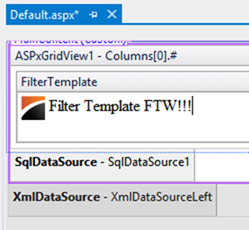 DevExpress ASP.NET GridView Filter Template Editing