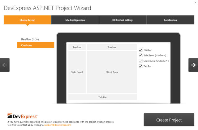 DevExpress ASP.NET Project Wizard