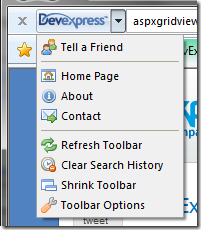 Toolbar options link