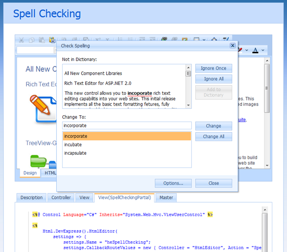 DevExpress ASP.NET MVC HTML Editor - Spell Checking