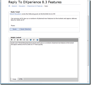 DevExpress MVC Forums - Reply To Thread - Quote - HTML Editor