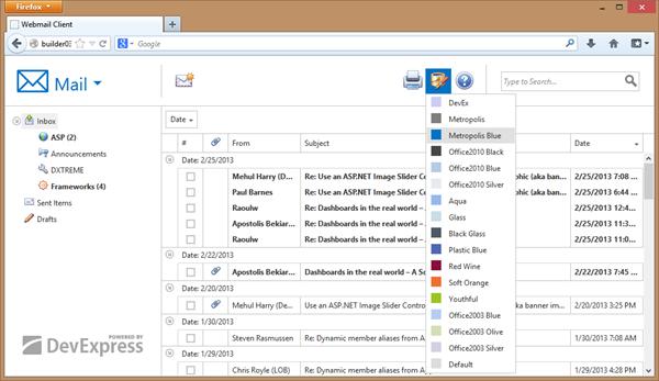 DevExpress ASP.NET Metropolis Blue Theme - Grid View