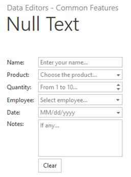 DevExpress ASP.NET Editors NullText