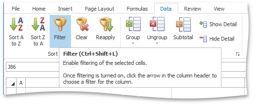 WinForms and WPF spreadsheet: the Filter Button