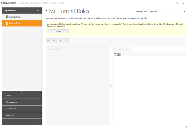WinForms data grid: Converting Format Rules to v14.2