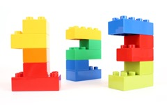 Lego built into 1, 2, 3
