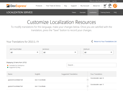 DevExpress Localization Service Edit Page