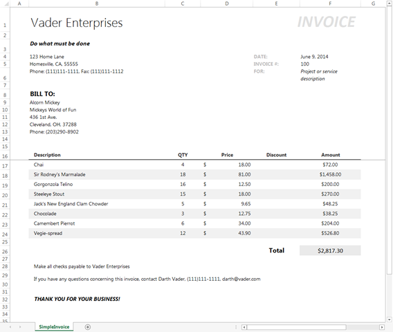 Another Simple Invoice