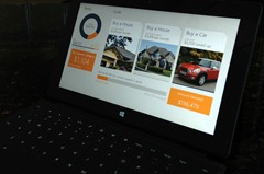 DevExpress personal finance demo app running on Microsoft Surface