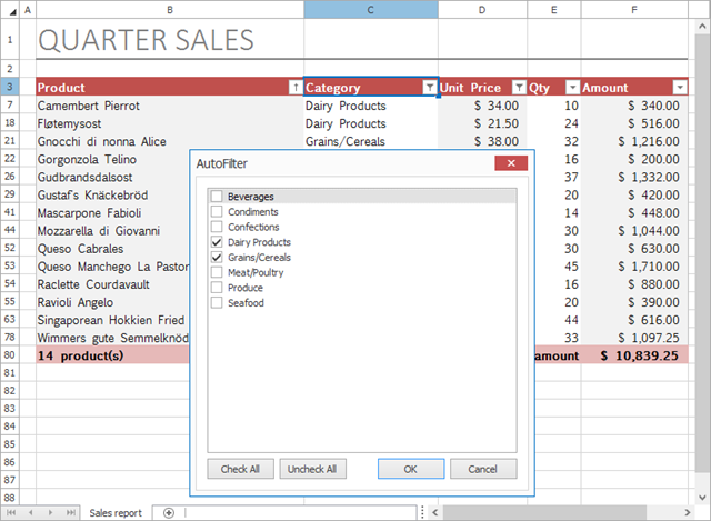 WinForms and WPF Spreadsheet: AutoFilter