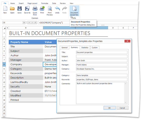 WinForms/WPF Spreadsheet: Document Properties