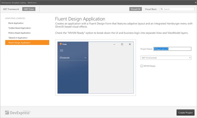 dotNet5 App Template Gallery