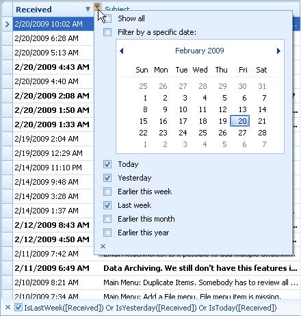 Date dropdown filter