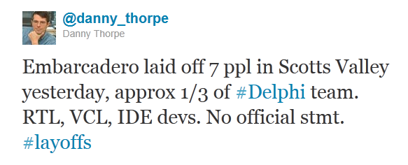 Danny Thorpe tweet discussing Emarcadero layoffs