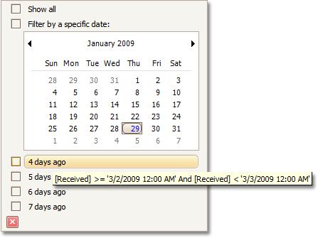 Filtered dates tooltip