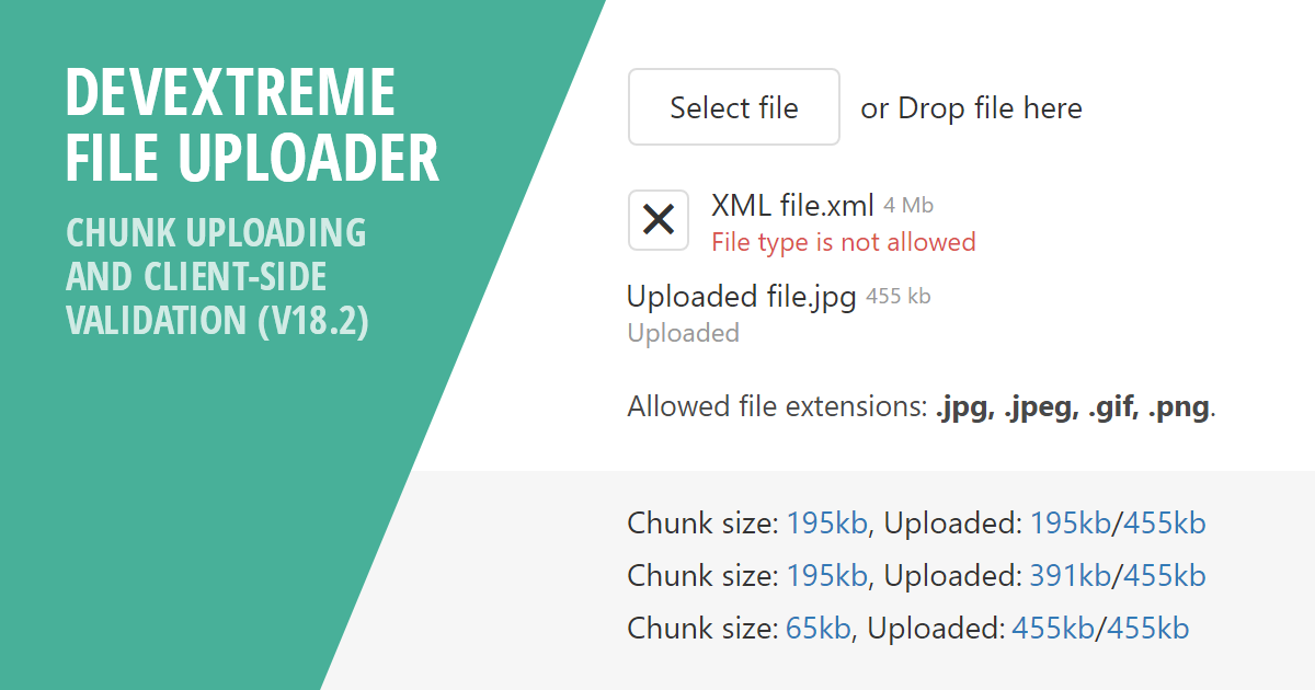 DevExtreme - File Uploader - Chunk Uploading and Client-Side