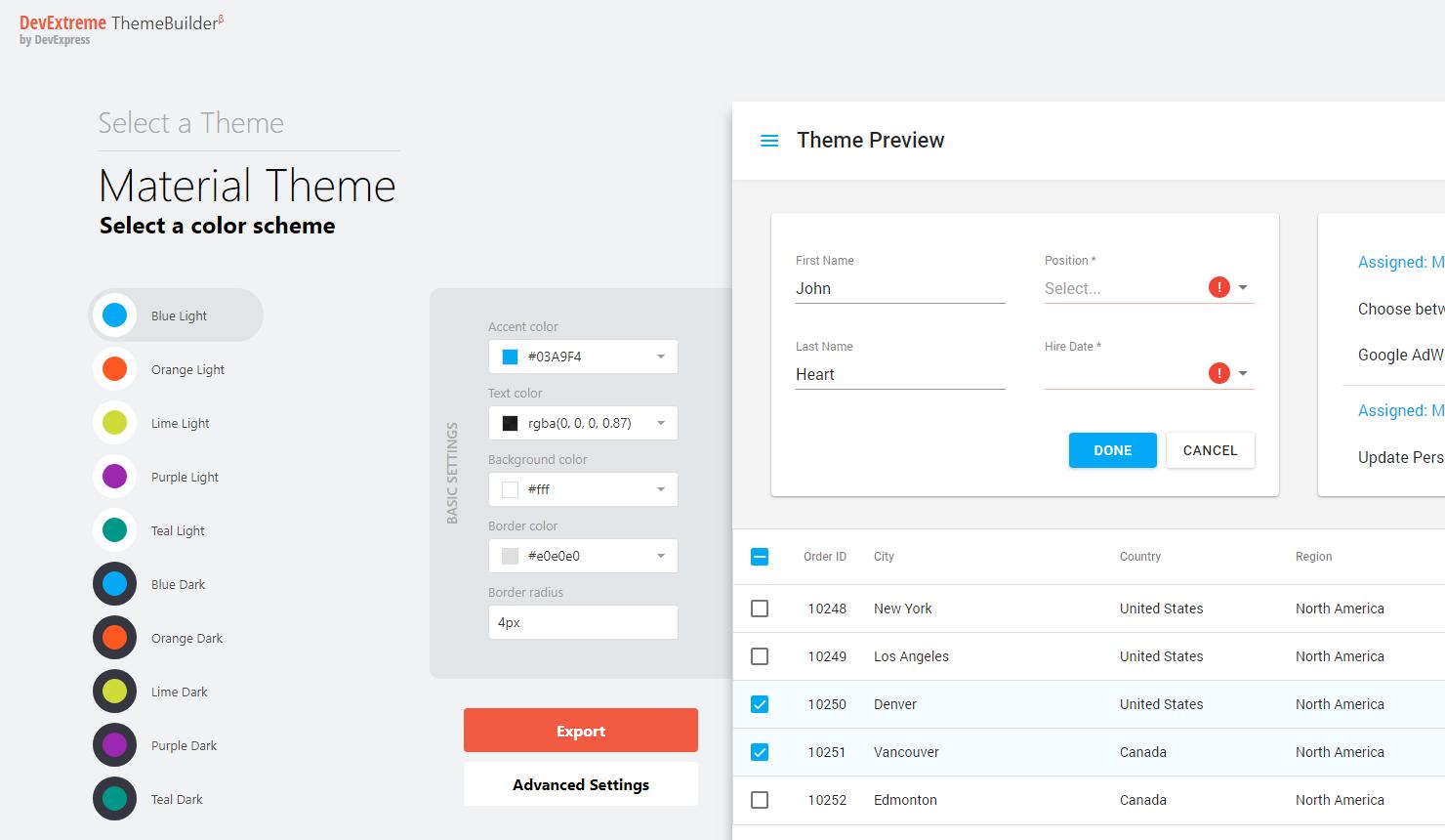 DevExtreme – New ThemeBuilder