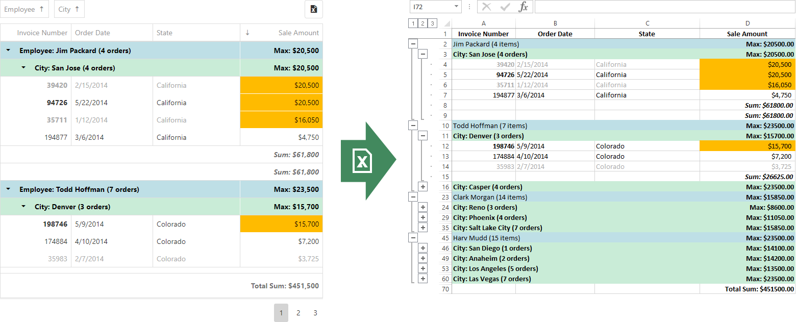 DevExtreme - Data Grid - Excel Data Export Enhancements