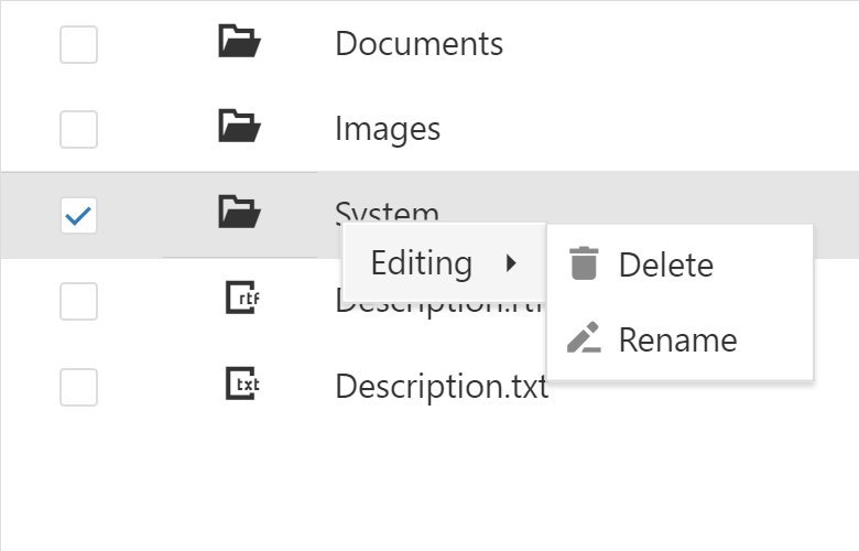 Hierarchical Context Menu