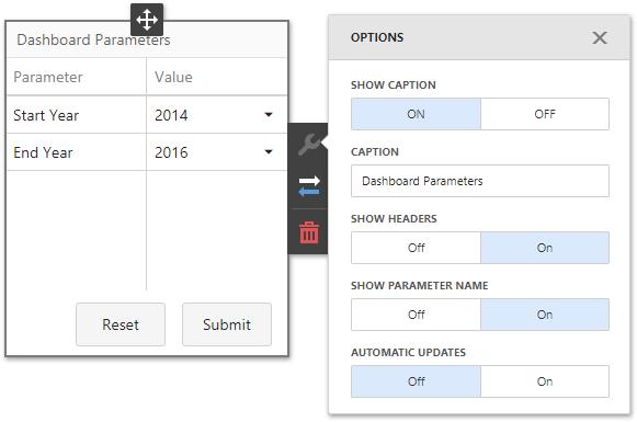 .NET Dashboard - Custom Item Settings