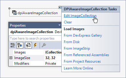 DPI-Aware Image Collection Component - Design Time