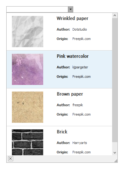 WinForms Tile View Lookup Control - Textures