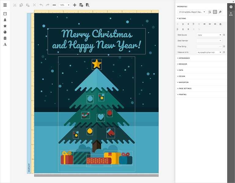 DevExpress Reports Demo - Christmas Card Builder