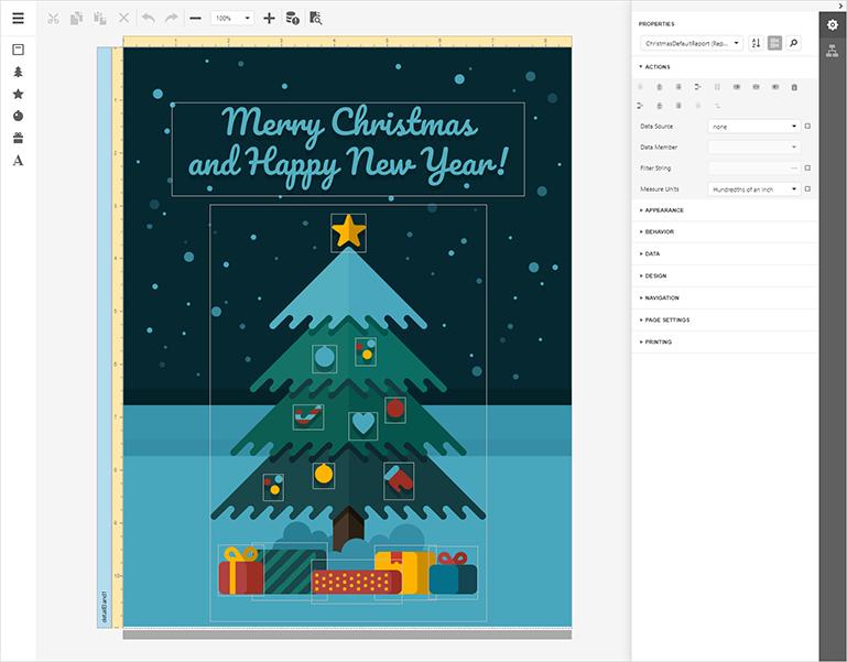 DevExpress Reports Demo - Christmas Card Builder