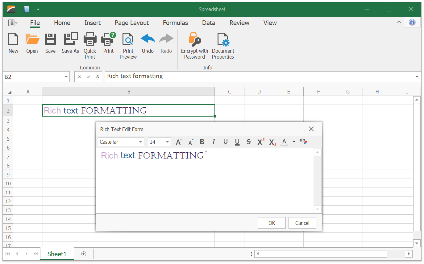 WinForms Spreadsheet – How to Create a Rich Text Editor for