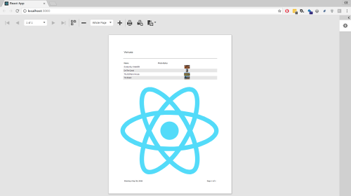 React and the Report and Dashboard Server