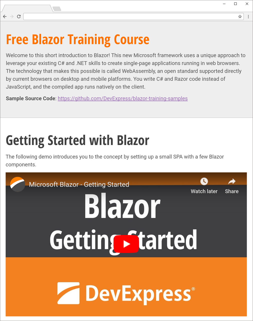 Free DevExpress Training Course for Microsoft Blazor