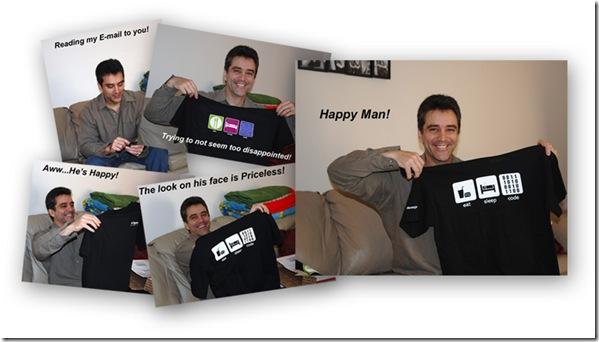 A genuine DevExpress t-shirt makes Adam very happy