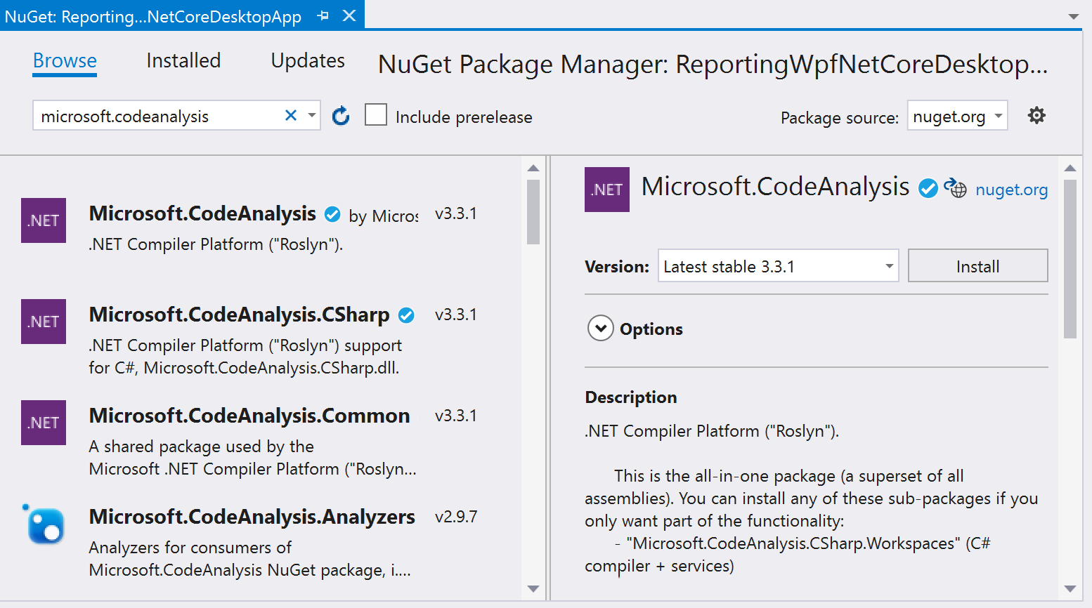 NuGet Package Manager - Microsoft.CodeAnalysis