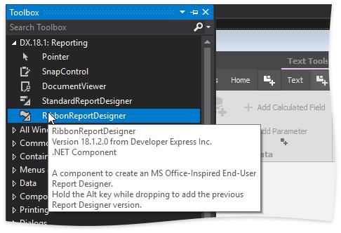 Report Designer Toolbox Tooltip