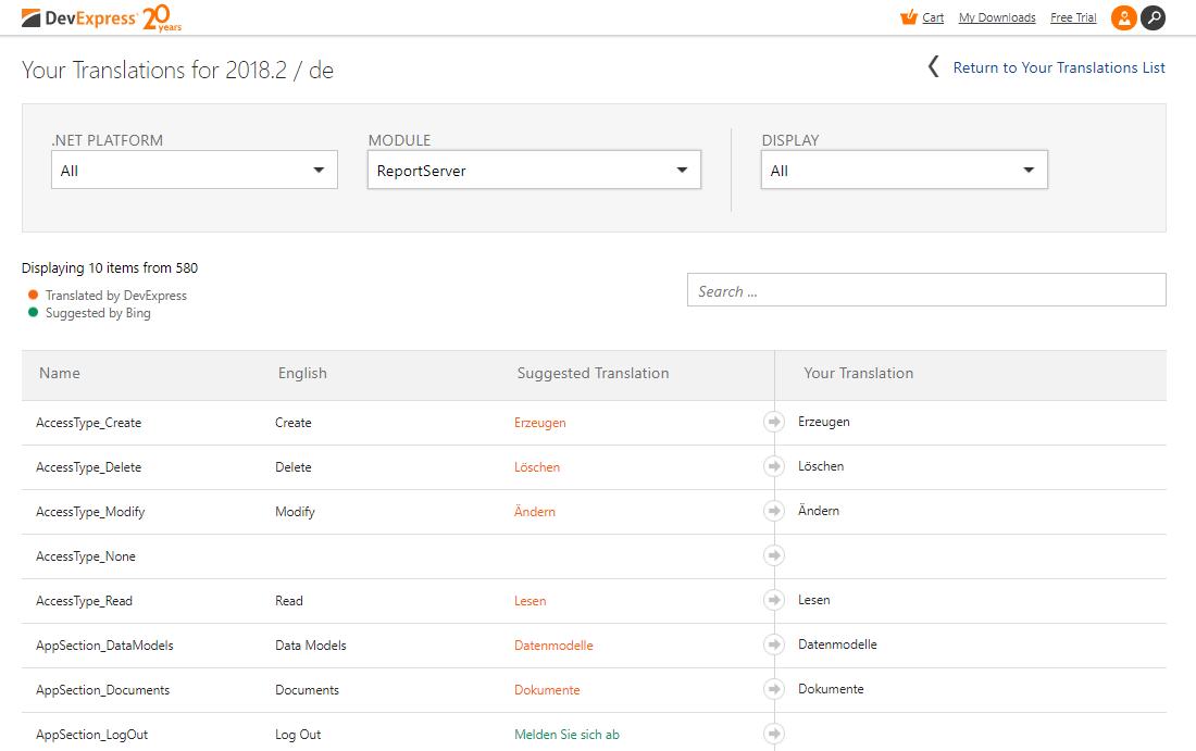 DevExpress Localization Service