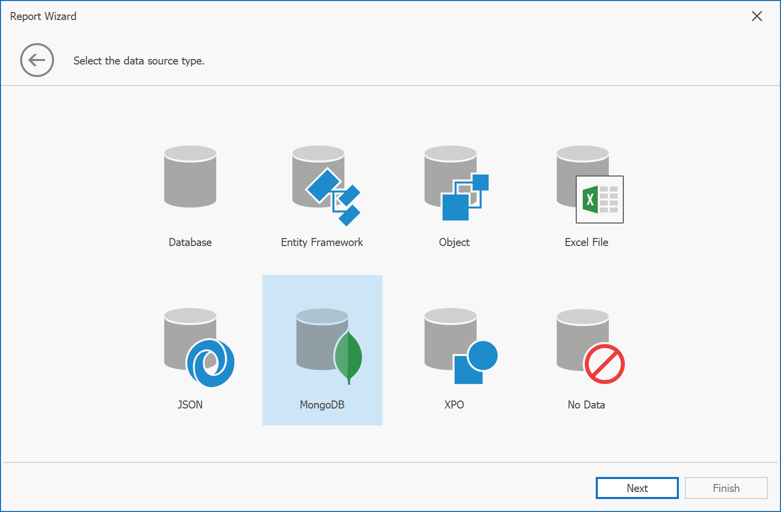Report Designer - Data Source Wizard - Mongo DB