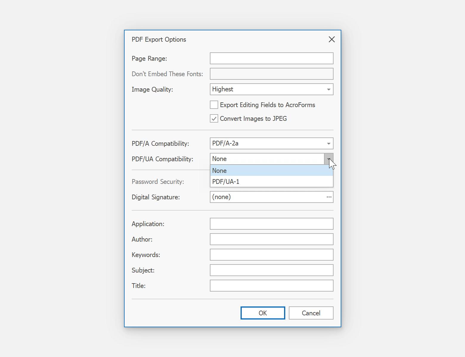 PDF Export Options - PDF/UA and PDF/A-2a Support