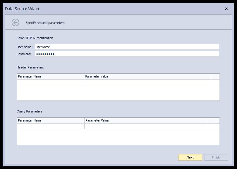 Json Data Source - Authentication Options