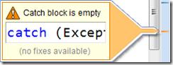 CodeIssuesEmptyCatchBlock