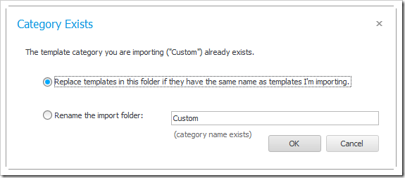 CustomizeTemplateImportFolder