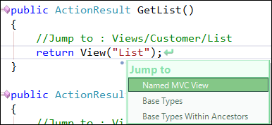 JumpToNamedMVCViewCustomerControllerJumpToView