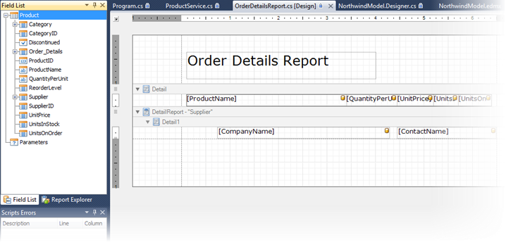 Order Details Report bound to Entity Framework