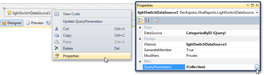 Accessing LightSwitch Query properties in XtraReports
